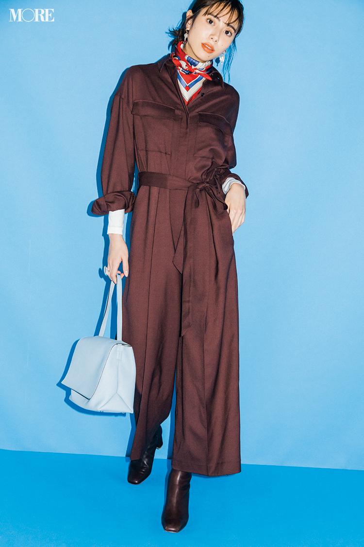【今日のコーデ】大人っぽい通勤コーデのジャンプスーツとショートブーツコーデの土屋巴瑞季