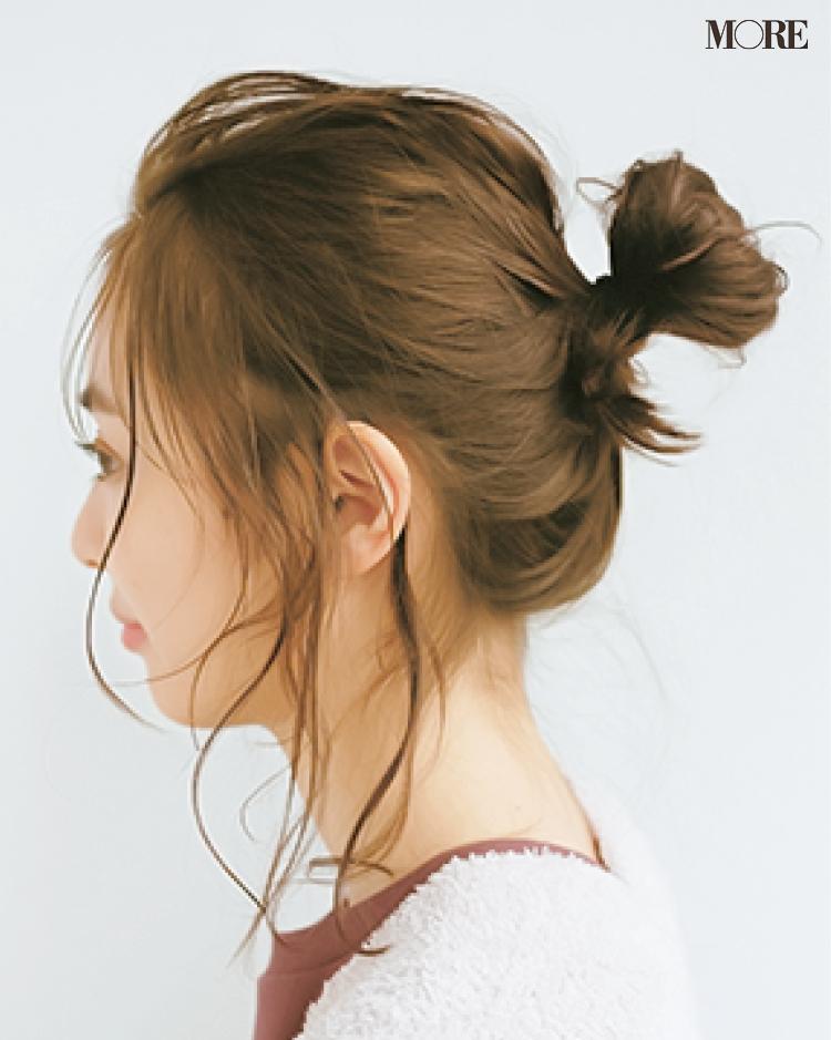 ボリュームシュシュのヘアアレンジ2 後れ毛を出す