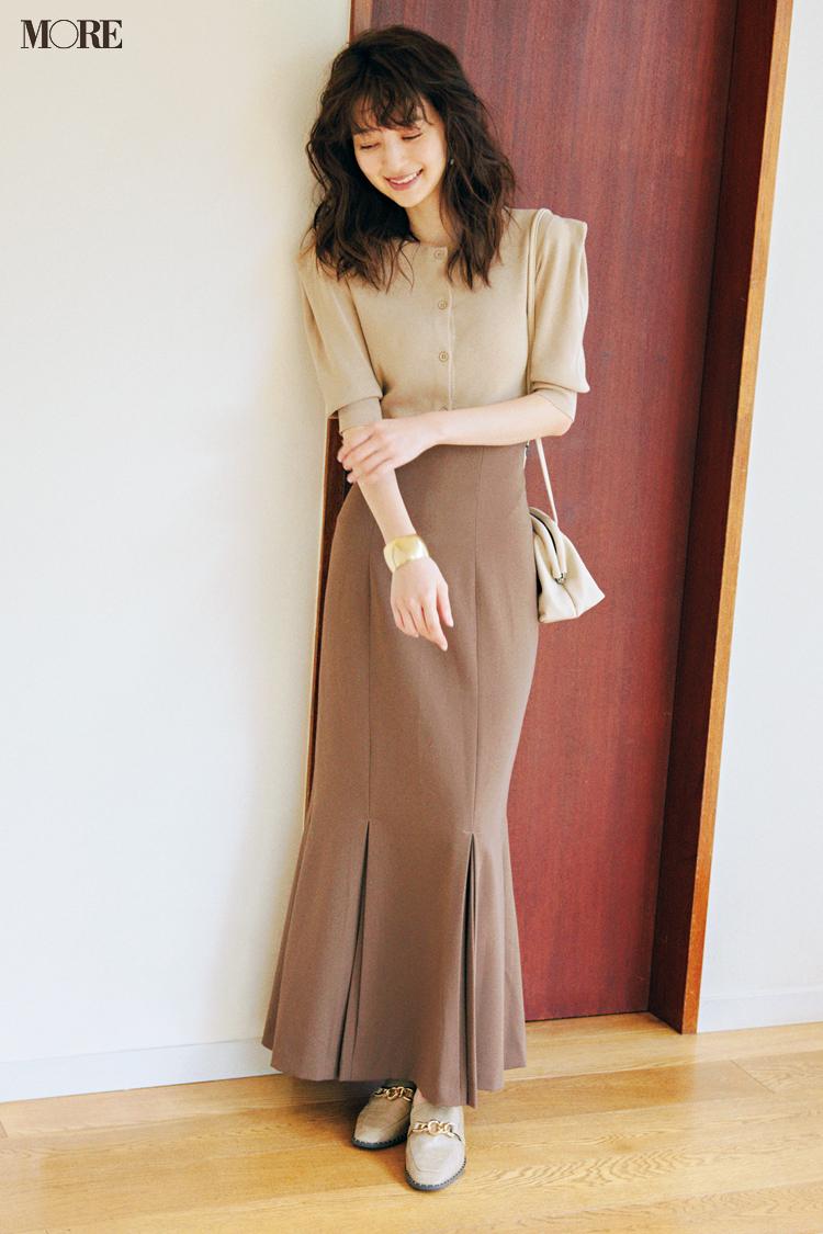 【今日のコーデ】<逢沢りな>旬のマーメードスカートは上品シックなワントーンでほんのり秋めいて_1