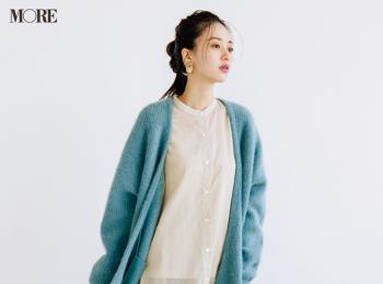 【今日のコーデ】<逢沢りな>おでかけ日和の土曜日。透けシャツ+カーディガンでコートの中は春気分に♪