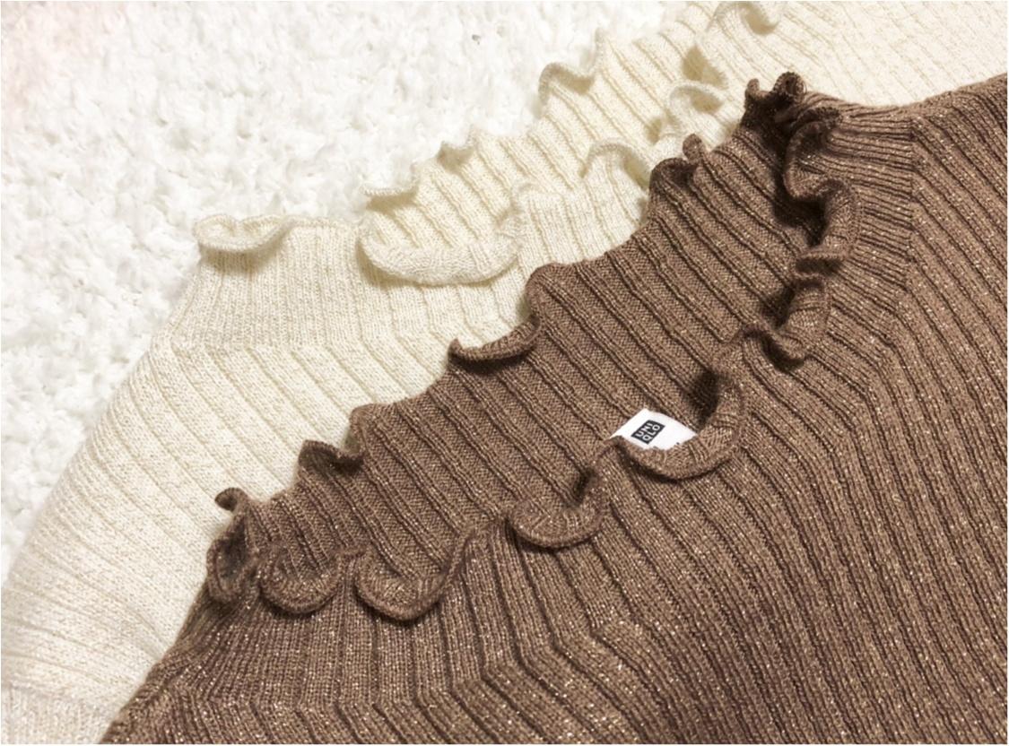 【UNIQLO - ユニクロ -】年末の買い足し服にぴったり❤️《シャイニーリブフリルネックセーター》が可愛すぎる!_2