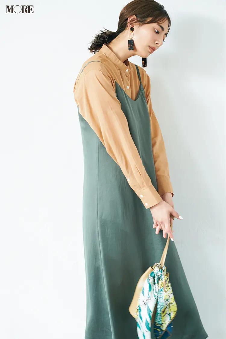 【ワンピースコーデ】シアーシャツにキャミワンピースを重ねて小粋なフェミニンコーデ