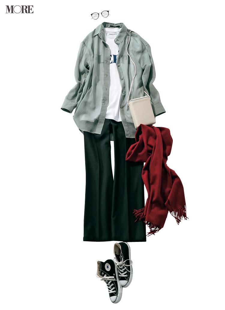 夏に買ったトレンド服、まだ使えます♡ シアーシャツ&くすみパステルパンツの旬な着こなし6選_2