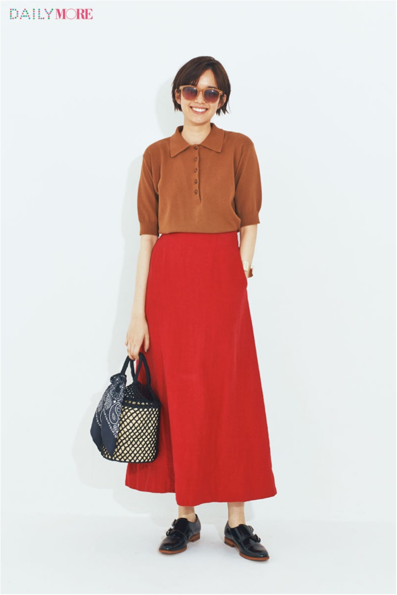 【今日のコーデ】ブラウスに飽きたらポロシャツ。女っぽい赤スカートとさりげなくスポーツMIX!_1
