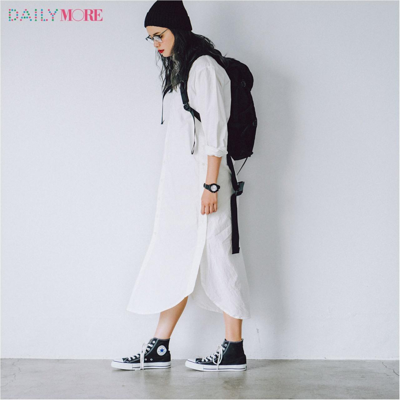 【今日のコーデ/岸本セシル】夏本番のモノトーンカジュアルは真っ白なシャツワンピースが主役。_1