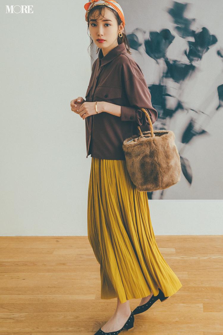 【今日のコーデ】<飯豊まりえ>甘いスカートの引き締め役はシャツジャケット。初秋は一枚でトップス使いして_1