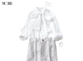 【今日のコーデ】蒸し暑い日も快適かつ好印象!リネン混パンツで白っぽワントーンがいい