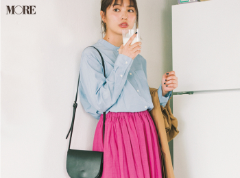 【今日のコーデ】<内田理央>くすみブルーとフューシャピンク、そして出かける前の牛乳で気持ちを上げたい!
