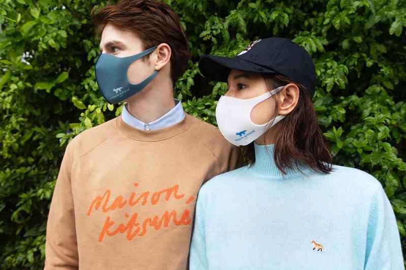 メゾンキツネとピッタ・マスクのコラボマスクをつけた男女