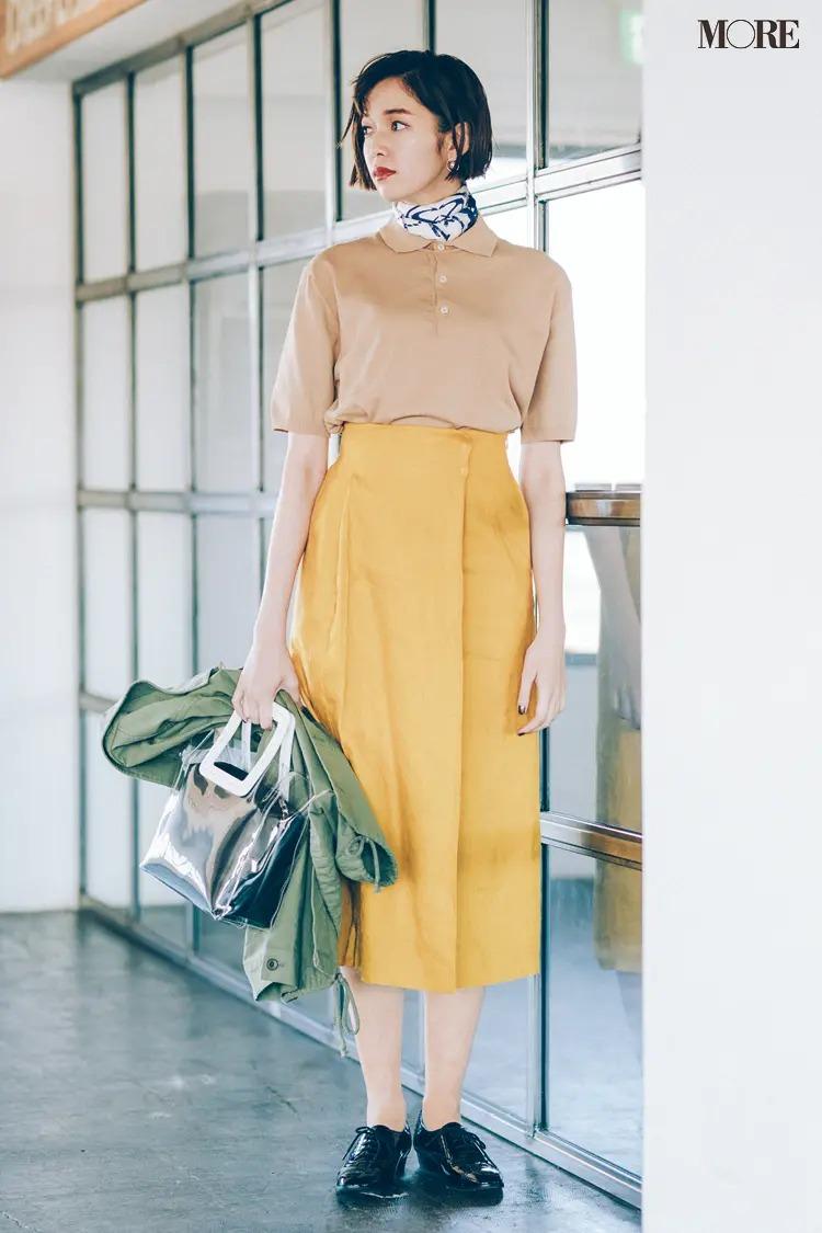 【2020夏コーデ】上品なベージュ×シックなイエローの優しげ配色できれいなお姉さん風に!