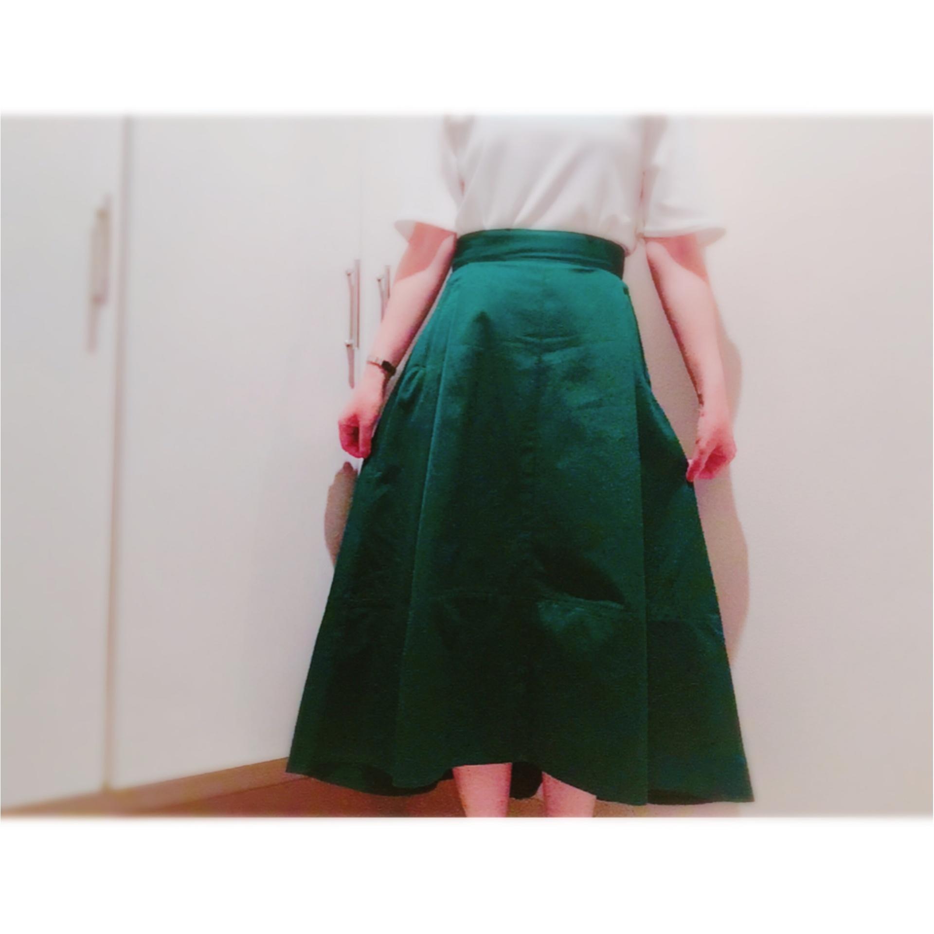 ▷夏から秋まで❤︎【グリーンスカート】でレディなOFFSTYLE_1