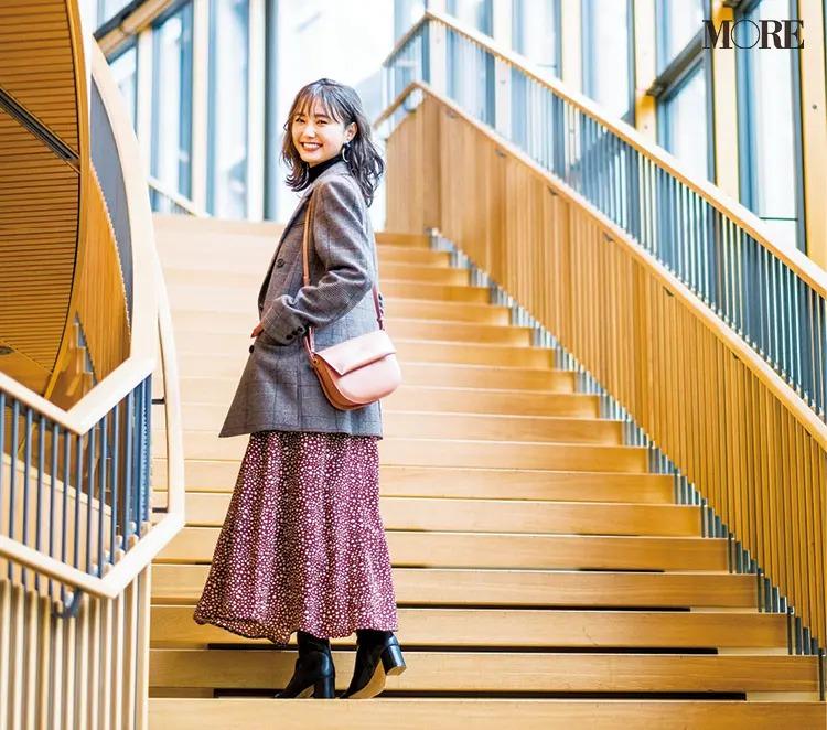 【ジャケットコーデ】アニマル柄スカート×グレージャケット