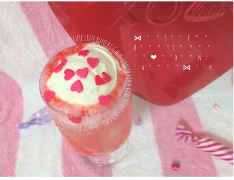 【FOOD】\ 愛ちあん Cafe♥︎ / 恋に効く♡?ハートがたっぷり♡とびきりcuteなPink Heart soda♡_1