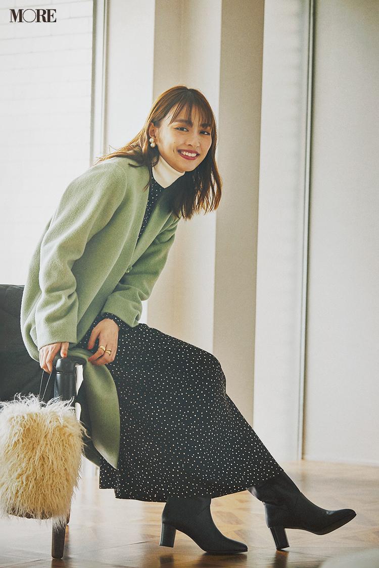 【今日のコーデ】<内田理央>彼の友達とハジメマシテ♡ドット柄ワンピースにきれい色コートで第一印象アップ_1