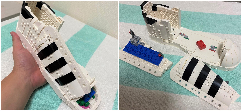 「レゴ アディダス オリジナルス スーパースター」のアッパーを組み立てている様子