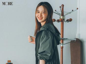【今日のコーデ】<逢沢りな>きれい色スカートに『ユニクロ』の撥水コートで雨の日もハッピー☆