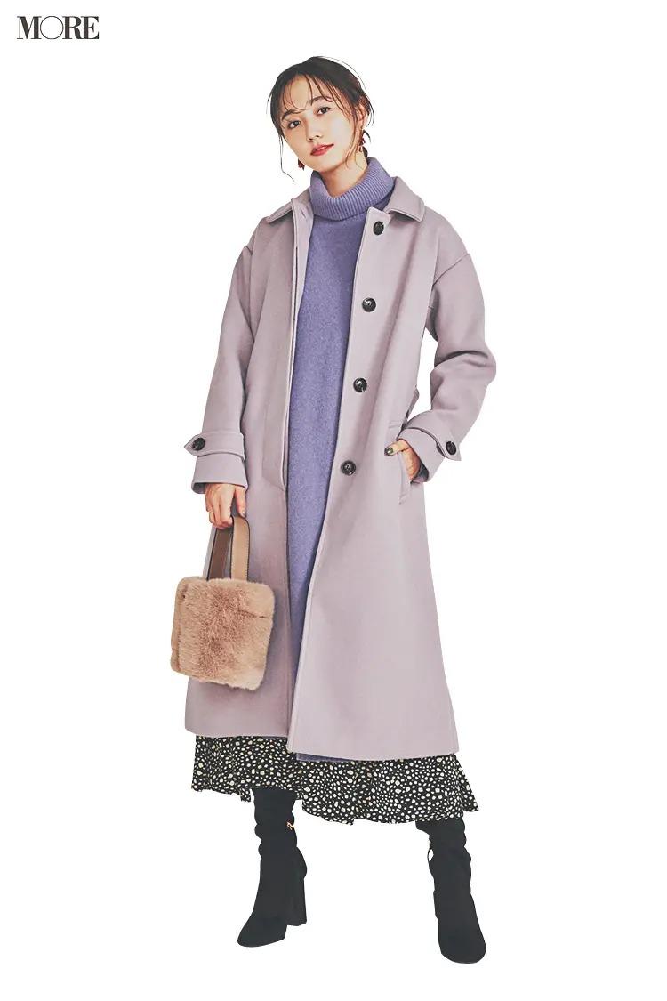 【ニットワンピースコーデ】くすみパープルのワンピ×モノトーンのドット柄スカート