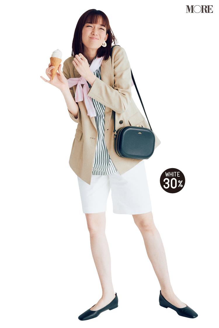 ベージュのジャケットと白いショートパンツを着た佐藤栞里