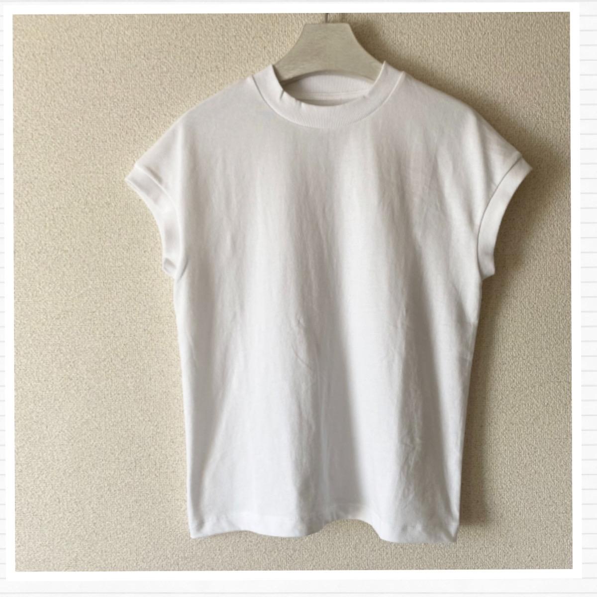 無印良品のオーガニックコットンフレンチスリーブTシャツ白