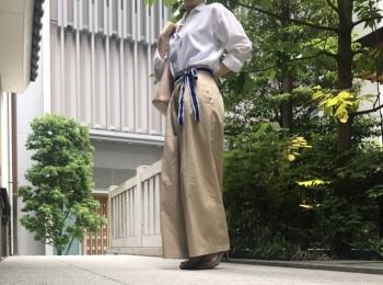 【オフィスコーデ】お気に入りのワイドパンツ×白シャツ