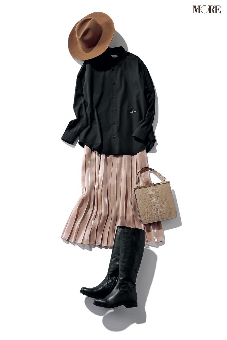 ずっと使える甘いプリーツスカートの着回し例