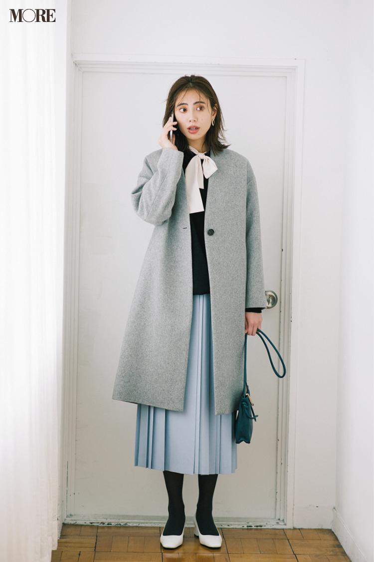 【今日のコーデ】<土屋巴瑞季>冬なのに暖かな一日はパウダーブルーのプリーツスカートで季節を先取り!_1