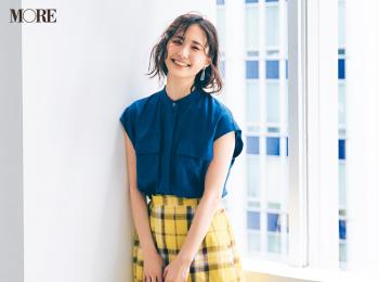 【今日のコーデ】<鈴木友菜>たまにはガーリー気分♡イエローのチェック柄スカートで身も心も華やいで