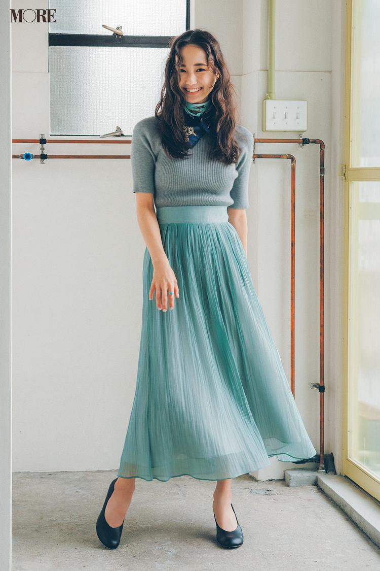 【今日のコーデ】きれい色のプリーツスカートにリブニットを合わせた鈴木友菜
