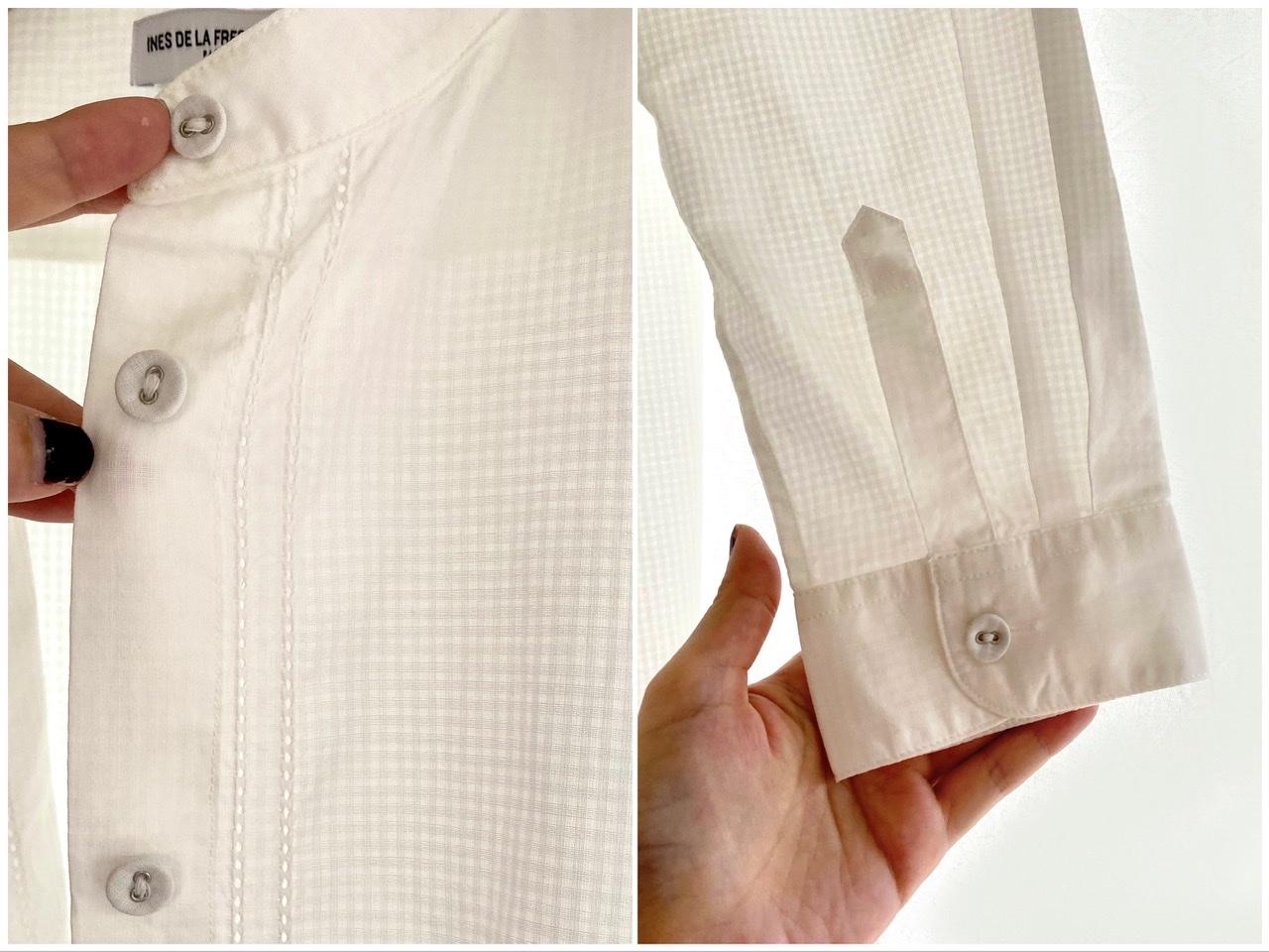 ユニクロ×イネス・ド・ラ・フレサンジュのコットンスタンドカラーチュニックの胸元と袖口