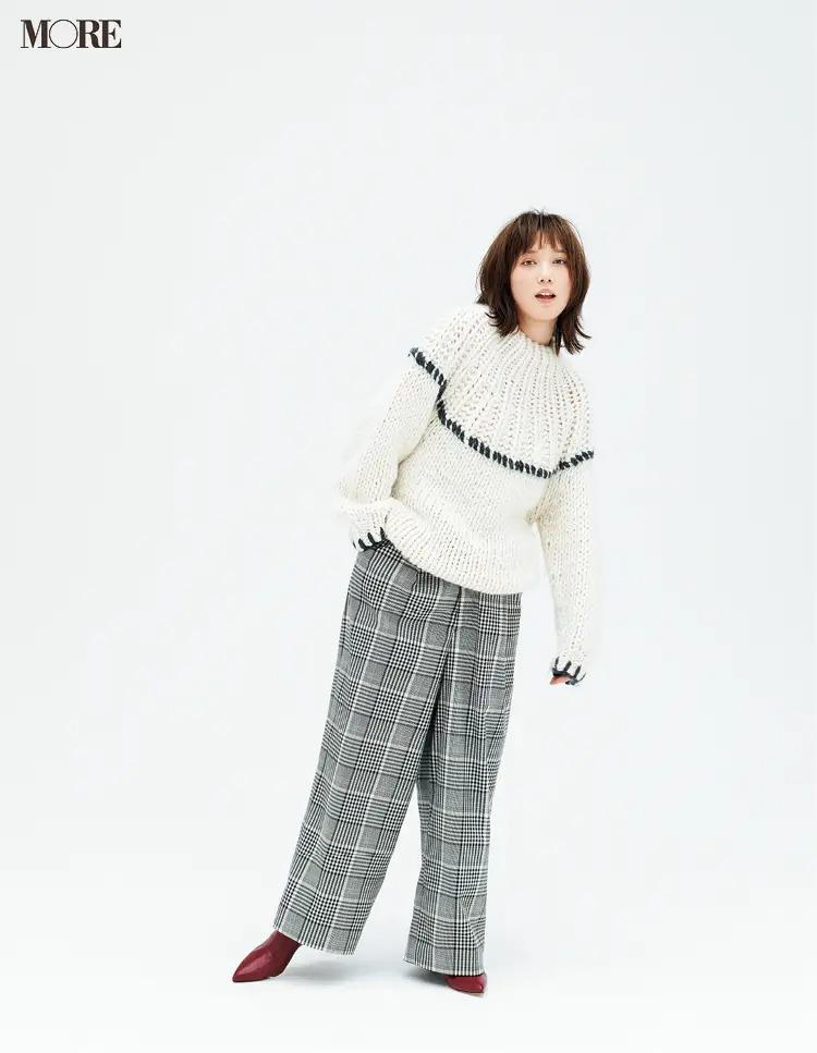 【2020-2021冬コーデ】白のざっくりゆるニット×チェック柄パンツでマニッシュコーデ
