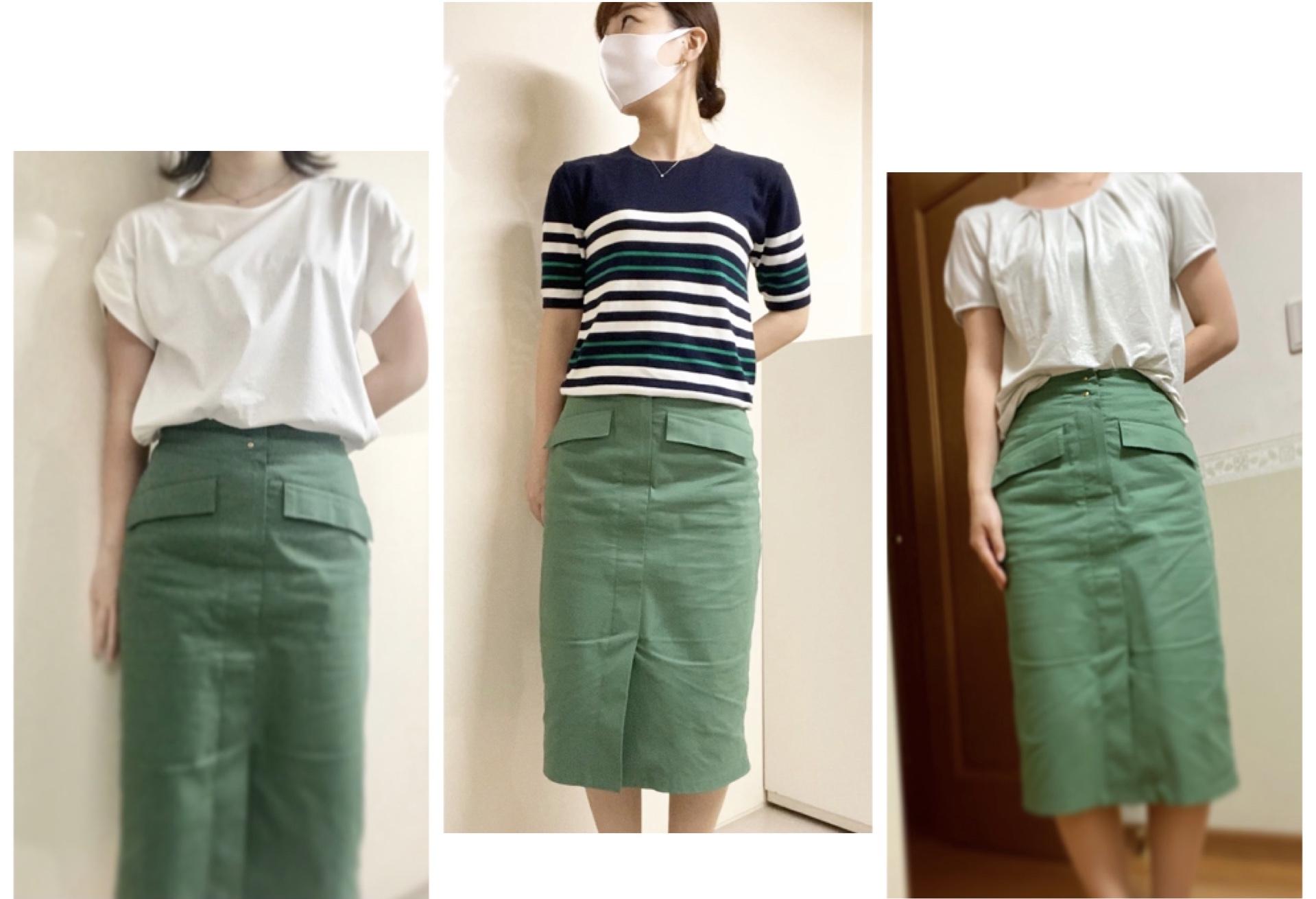 【オフィスコーデ】グリーンスカートでツクる3変化_1