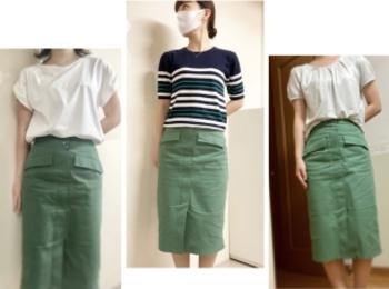 【オフィスコーデ】グリーンスカートでツクる3変化