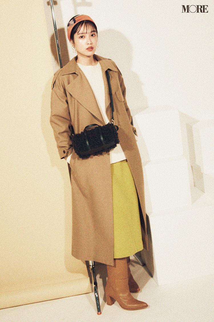 今日のコーデは松本愛のロングブーツとトレンチコート