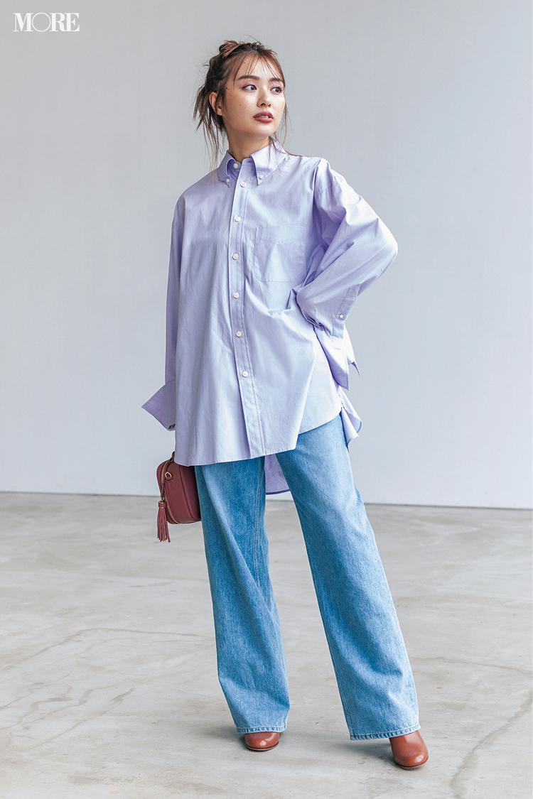 【今日のコーデ】<内田理央>仕事を頑張る日のシャツ×デニム。実はロングブーツで見えないおしゃれも!_1