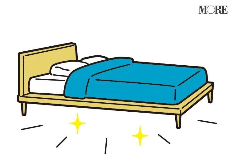 風水の開運掃除法で綺麗に整えられたベッド