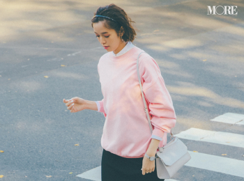 【今日のコーデ】<佐藤栞里>可愛げなピンクとモードな黒。鮮度抜群のカラーコーデでランチ女子会へ♪