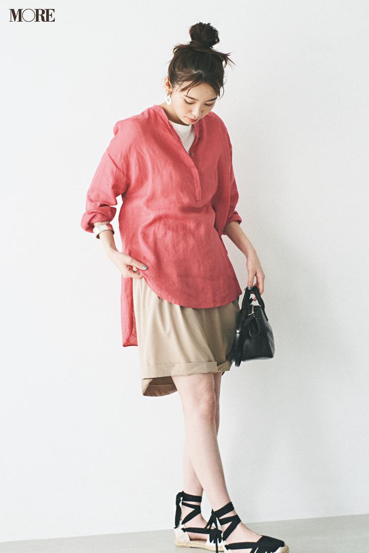 【今日のコーデ】<飯豊まりえ>日差しに映えるきれい色のリネンブラウスで休日コーデをリフレッシュ☆_1