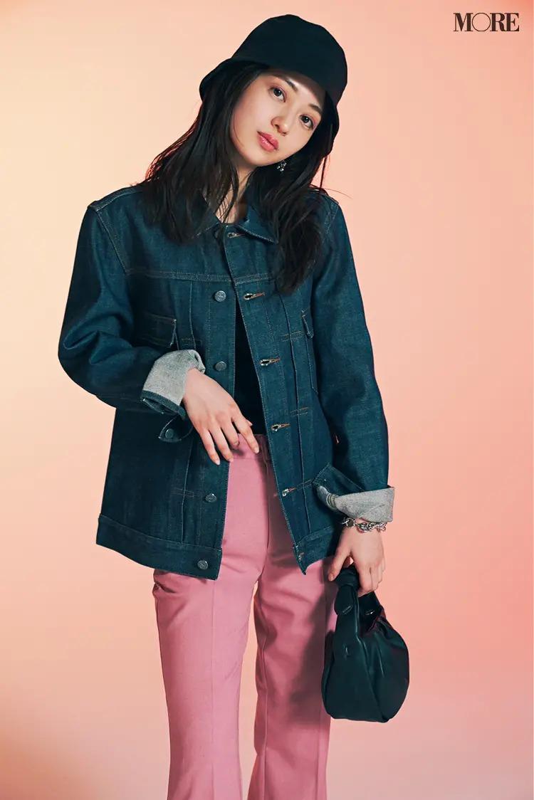 【ジャケットコーデ】きれい色パンツ×デニムジャケット×ハット