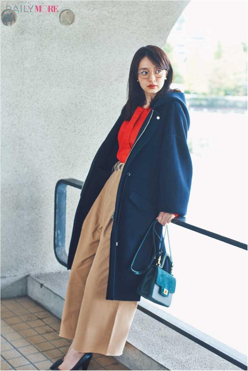 【今日のコーデ/逢沢りな】女性らしい赤×ベージュのお仕事コーデ。ボリュームのあるコートでスキを作って。_1