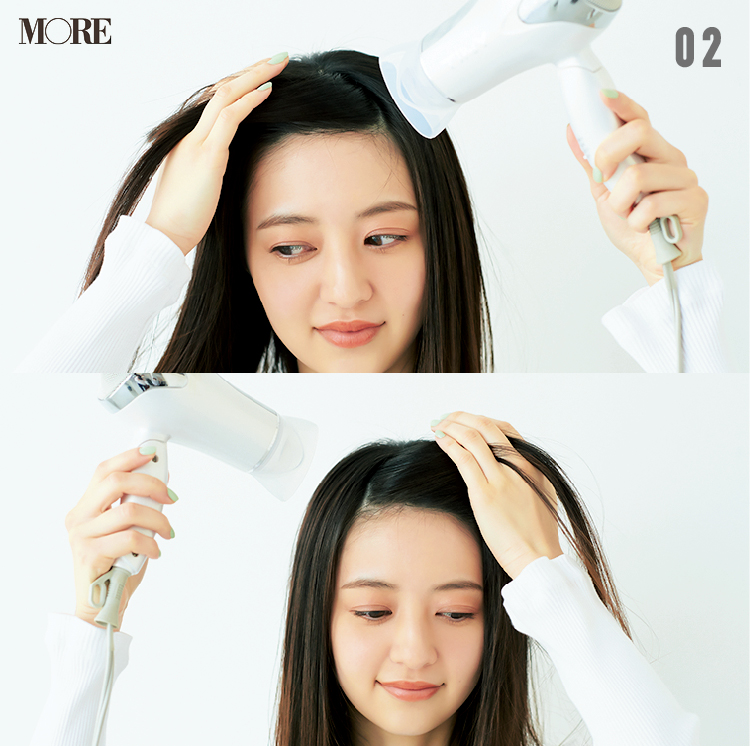 前髪のくせの直し方や寝ぐせを予防する方法を、プロがレクチャー! ドライヤーと水で、ささっと簡単ヘアリセット_7