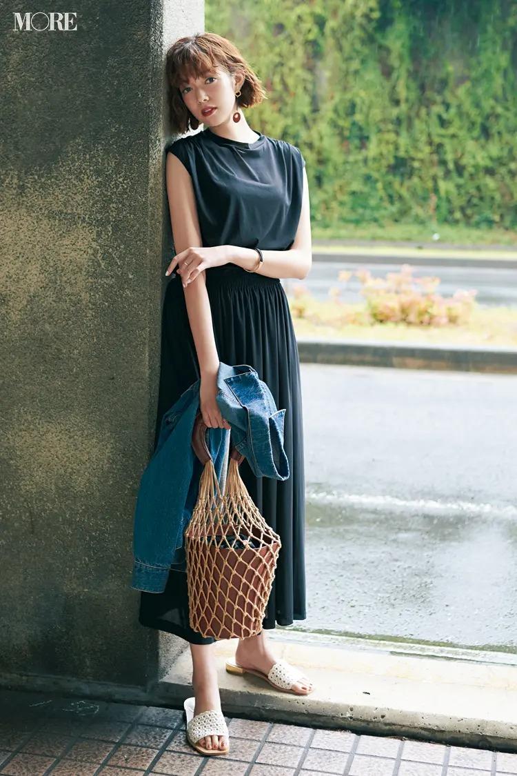 【2020夏コーデ】大人な黒で潔く!Gジャン&メッシュ小物でイマドキな遊び心もオン