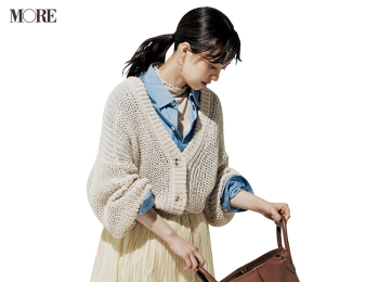 【今日のコーデ】<逢沢りな>気温が安定しない3月はざっくり編みカーディガンで軽やかな重ね着に