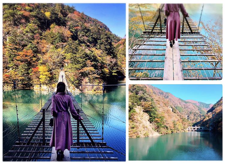 【#静岡】《夢の吊り橋×秋・紅葉》美しすぎるミルキーブルーの湖と紅葉のコントラストにうっとり♡湖上の吊り橋で空中散歩気分˚✧₊_12