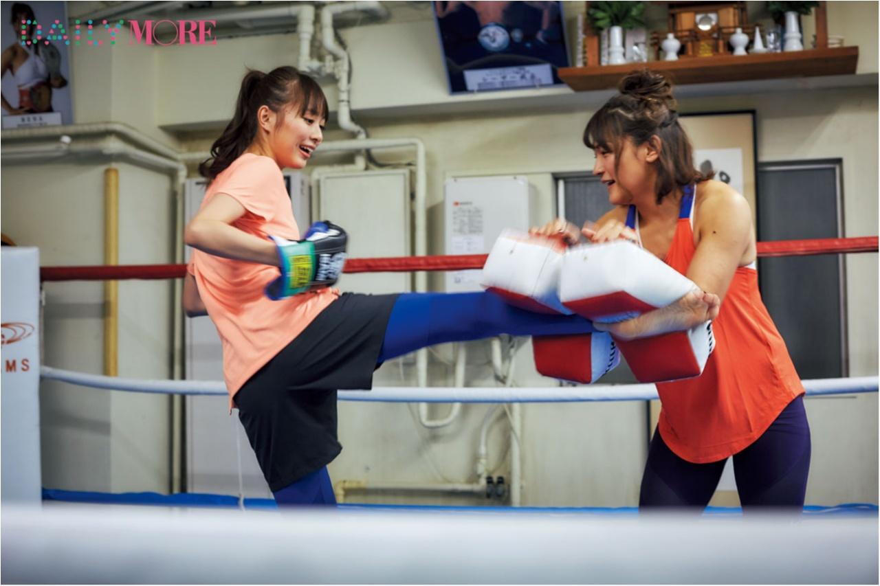 【内田理央の「キックボクシング」チャレンジ!】い、いきなり! だーりお、絶対女王・RENAさんに キックの基本を学びます!【#モアチャレ リポート】_2_4