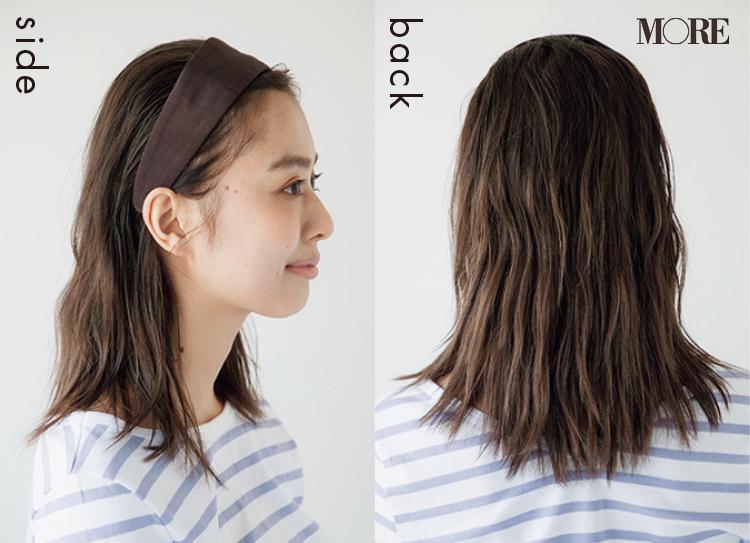 梅雨のカチューシャダウンスタイルヘアアレンジを横と後ろからみた髪型