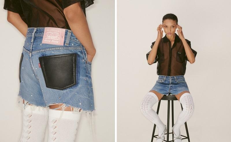 ミュウミュウ×リーバイス、デニムショートパンツのバッグと正面
