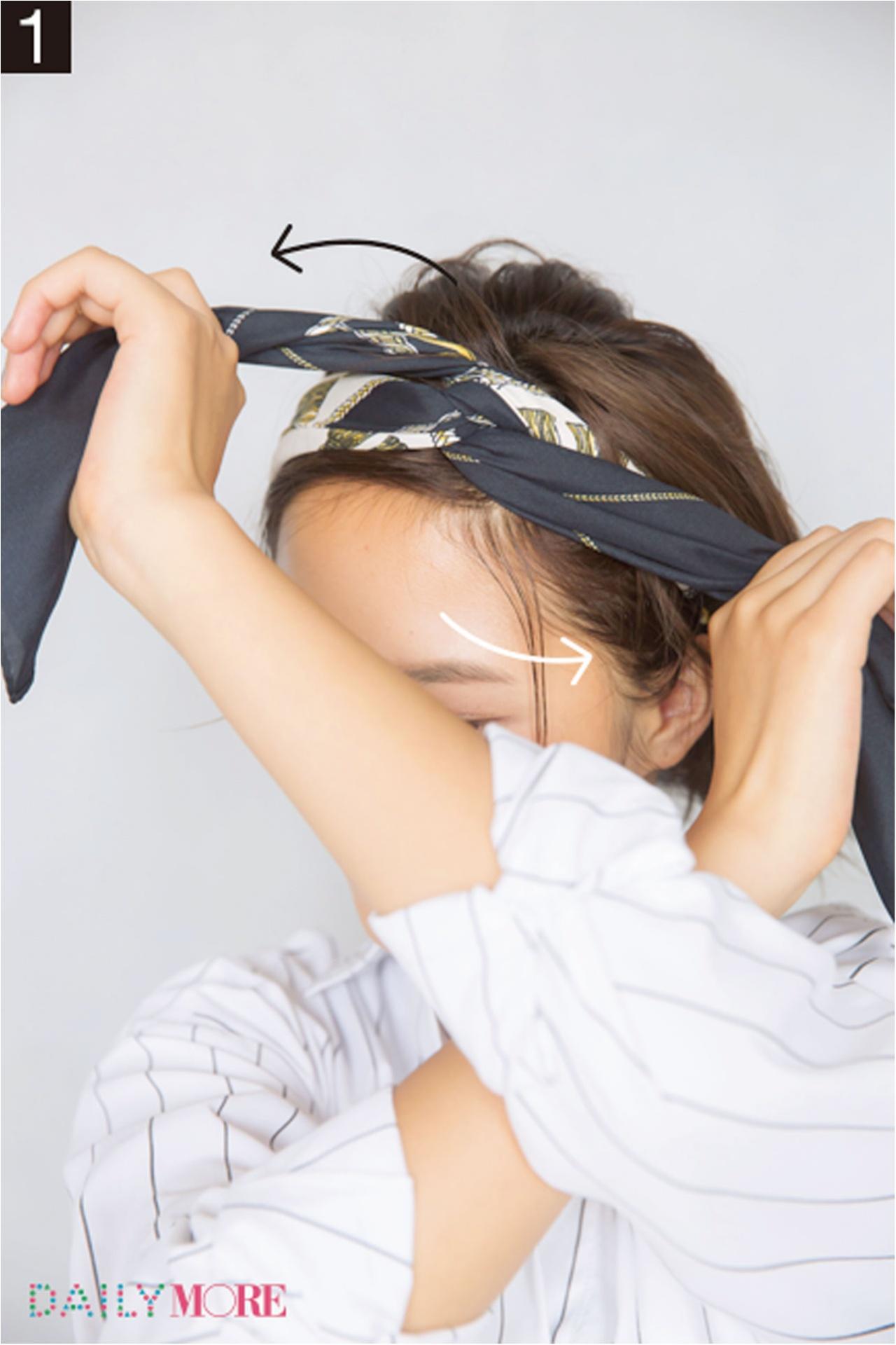 おまとめスカーフなら、簡単に今っぽヘアに! モアビューティズ菊地晴美ちゃん直伝「隠れ家カフェでおしゃべり日にGOOD」な神ヘアアレンジ_4