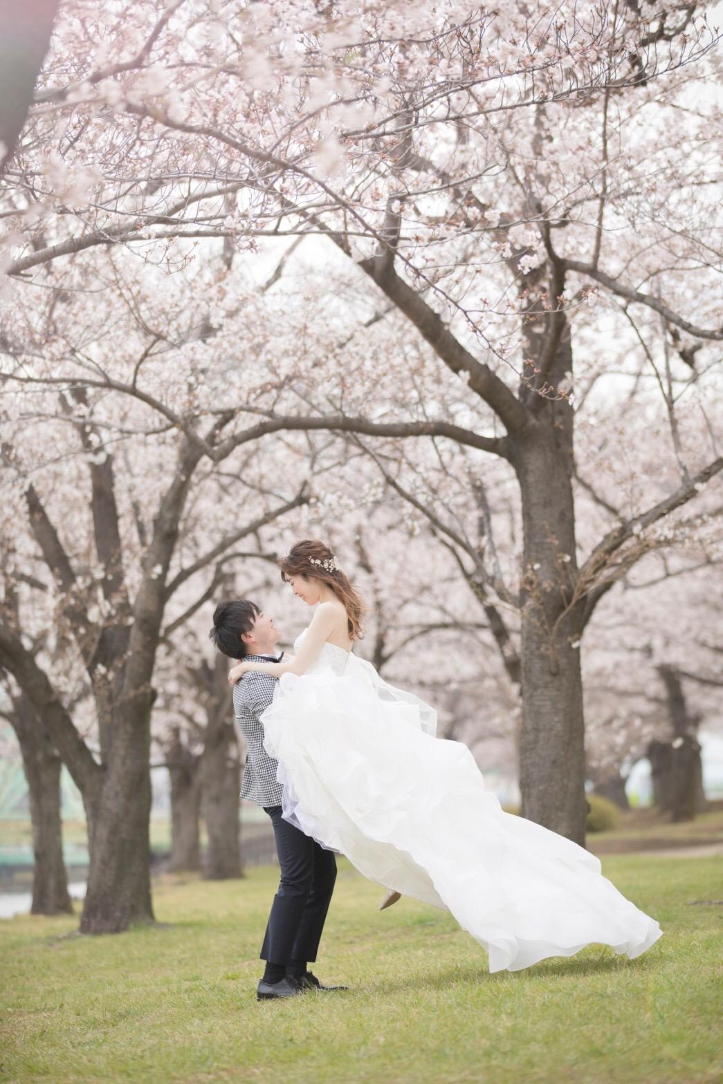 【桜ウェディング】桜満開の素敵なウェディングフォトを撮って頂きました♡_3