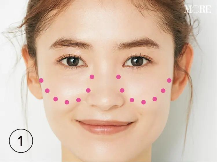 頬骨に沿って点が置かれた女性の顔