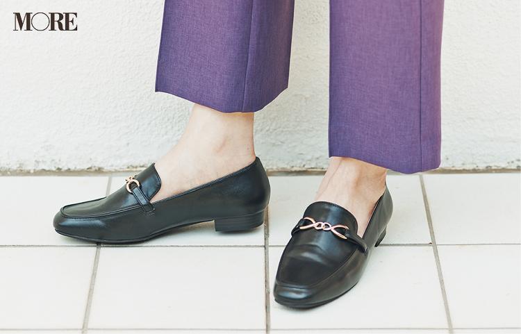 きれい見えで大ヒット。くすみパステルのセミフレアパンツを週3今っぽくはくための足もと見本帳☆_2
